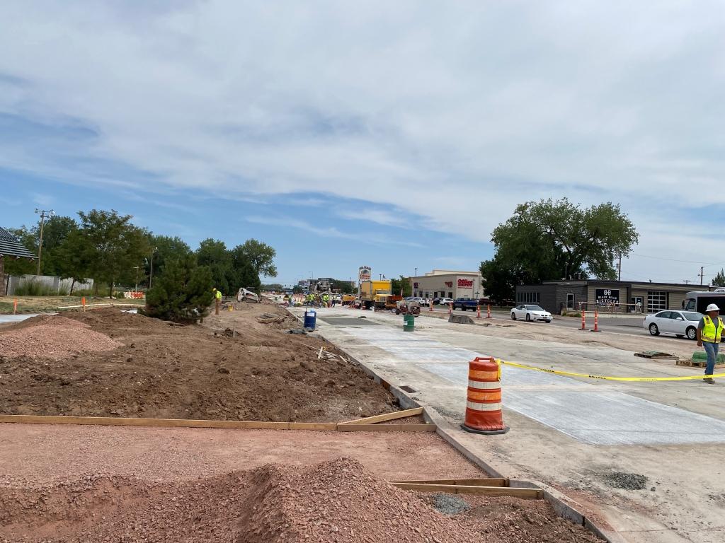 Omaha Street Reconstruction Concrete Forms Set for Concrete Work Near Founders Park East Entrance 2020-08-19