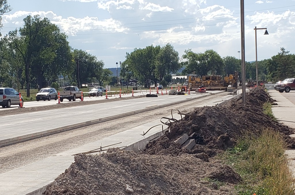 Omaha Street newly paved lanes near west Founders Park entrance 2020-08-12