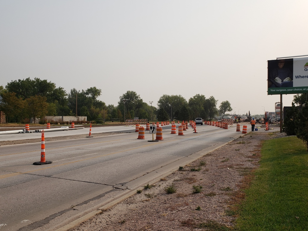 Omaha Street two-way traffic shift to westbound lanes from Oshkosh Street to 12th Street. 2020-09-17