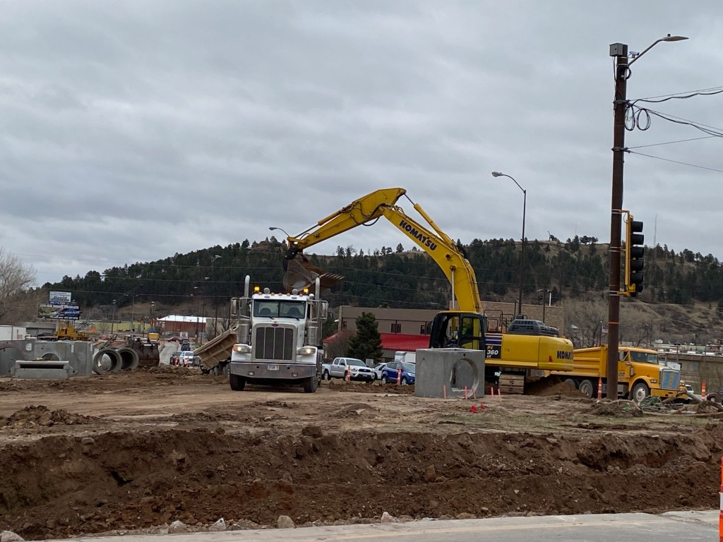 Roadway Excavation Near Deadwood Avenue in Rapid City, South Dakota, Wednesday, April 14, 2021.