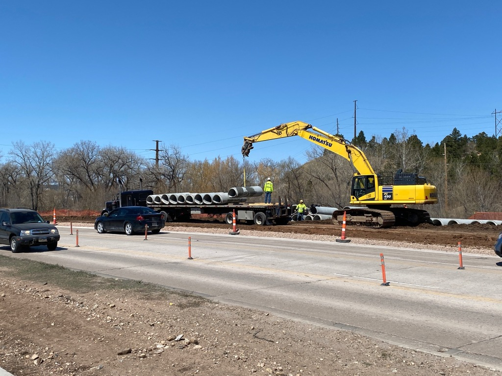 Storm Sewer Installation on the North Side of Omaha Street in Rapid City, South Dakota, Wednesday, April 21, 2021