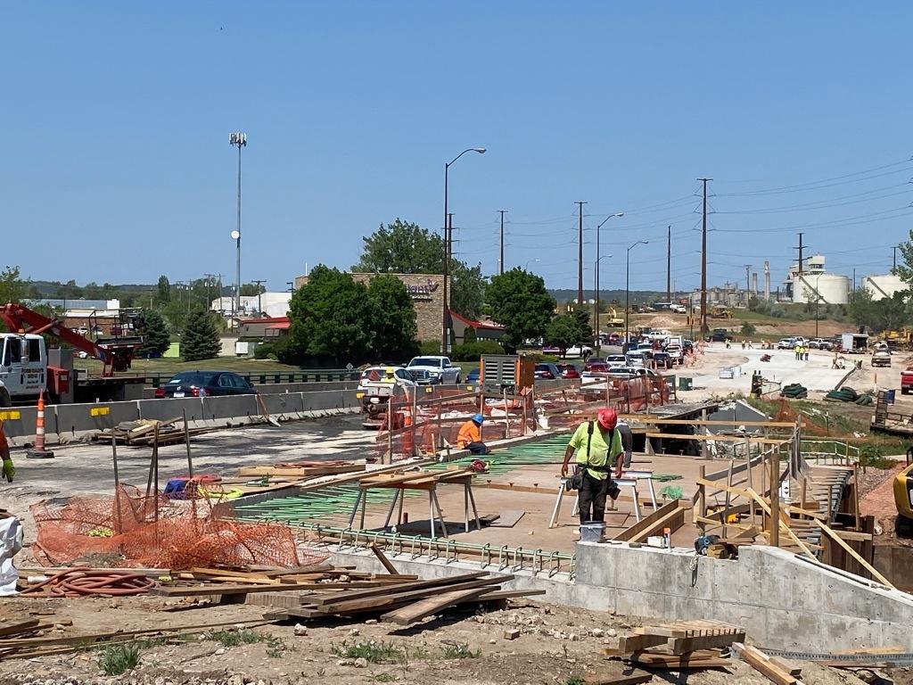 Crews Work on the Omaha Street Rapid Creek Bridge in Rapid City, South Dakota, Wednesday, June 16, 2021.
