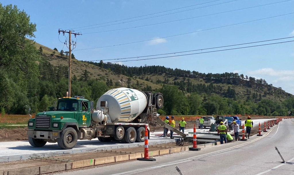 Concrete Paving continues on Omaha Street in Rapid City, South Dakota, Wednesday, July 7, 2021.