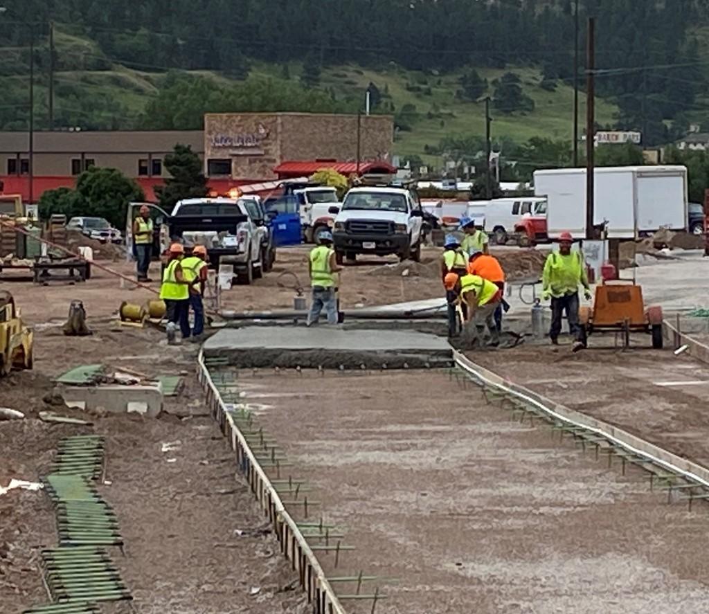 Concrete Paving on Deadwood Avenue, Rapid City, South Dakota, Wednesday, July 14, 2021.