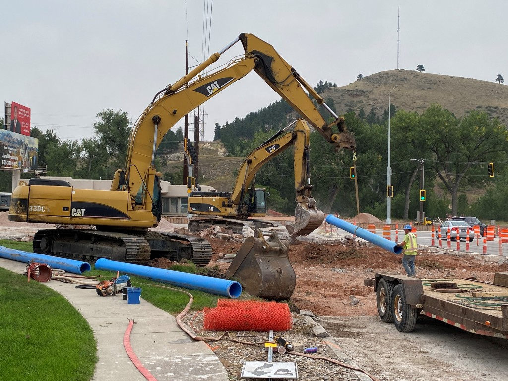 Removal and Water Main Installation on Mountain View Road, Rapid City, South Dakota, Wednesday, September 1, 2021.