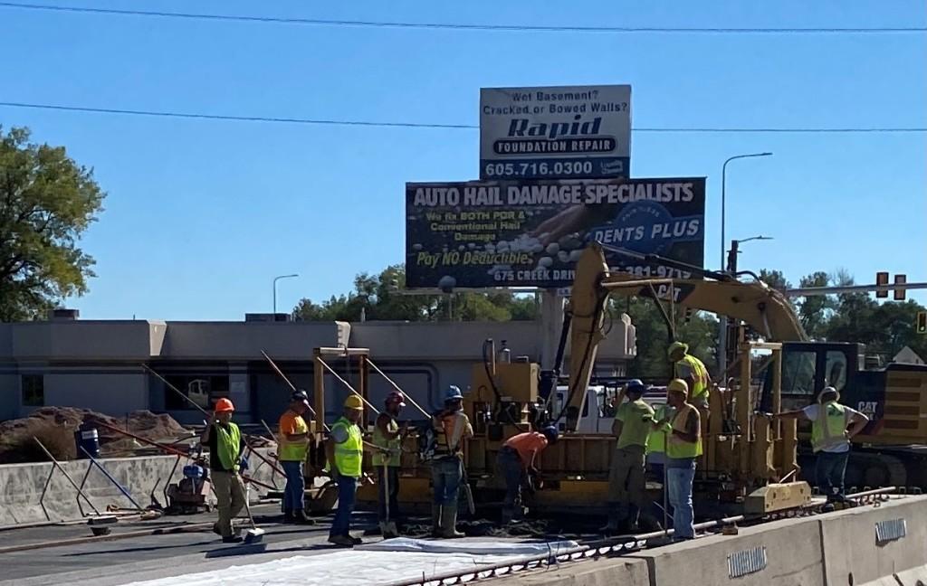 Concrete Overlay on the Rapid Creek Bridge, Omaha Street, Rapid City, South Dakota, Wednesday, September 22, 2021.