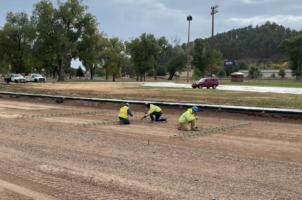 Preparation for concrete paving, Omaha Street, Rapid City, South Dakota, Wednesday, September 29, 2021.