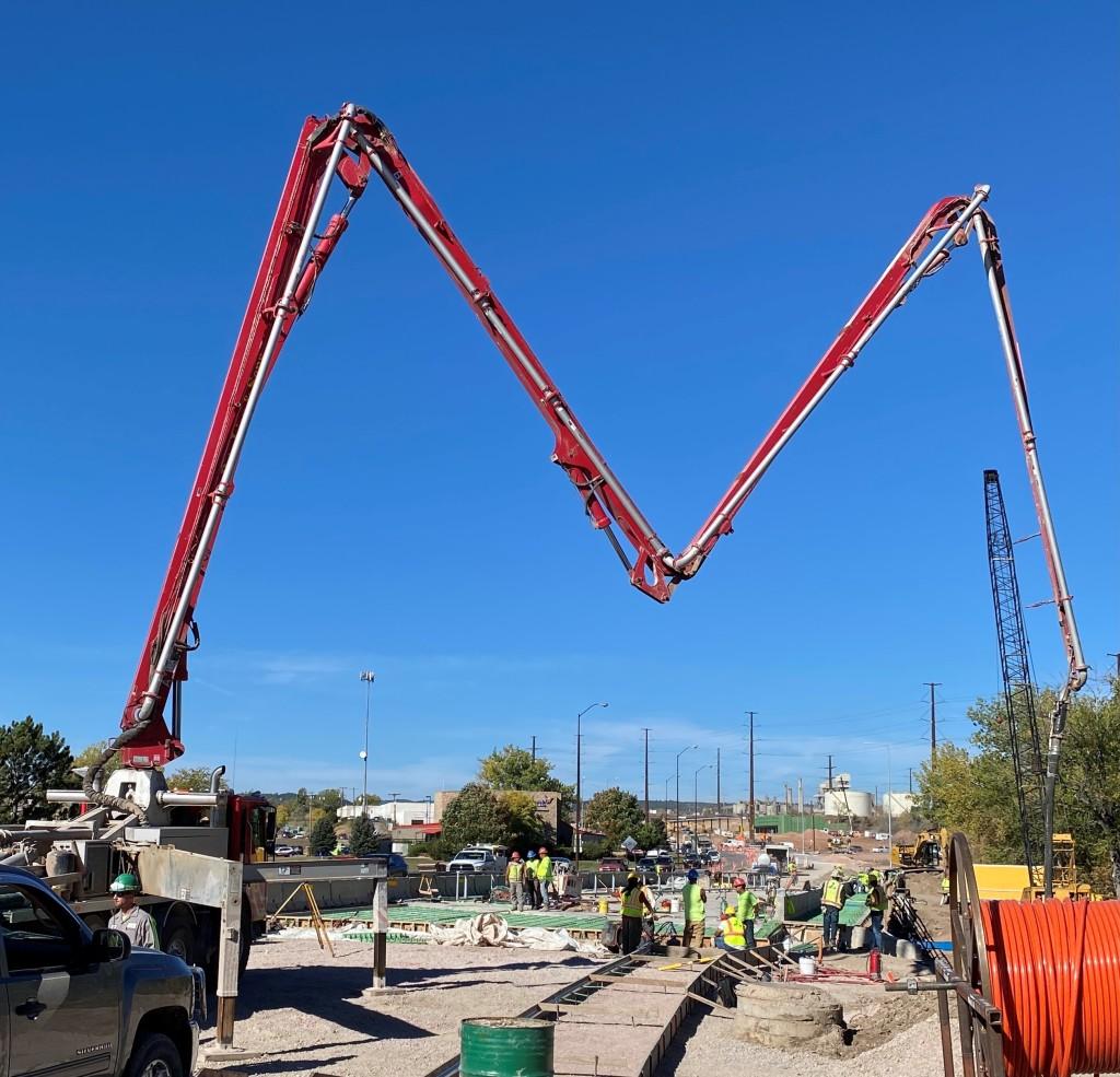 Concrete Placement on the Rapid Creek Bridge, Omaha Street, Rapid City, South Dakota, Wednesday, October 6, 2021.